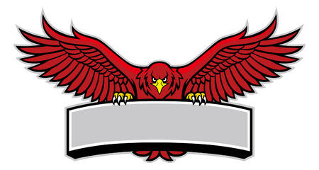 la mascotte de l'aigle rouge tient la bannière vierge pour le texte Vecteurs
