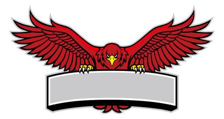 la mascotte dell'aquila rossa tiene il banner bianco per il testo Vettoriali
