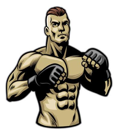 mma fighter posing Ilustrace