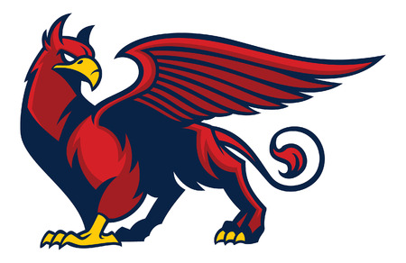 mythology creature of griffin in sport mascot style
