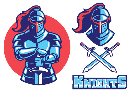 knight mascot set collection with separated object Çizim