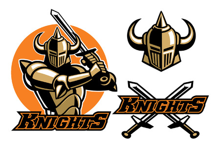 knight mascot set with separated objects Illustration