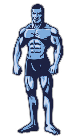 bodybuilder stand with athletic body