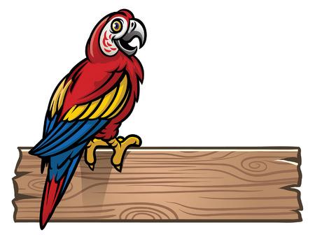 happy macaw bird stand on the blank wood plank 向量圖像
