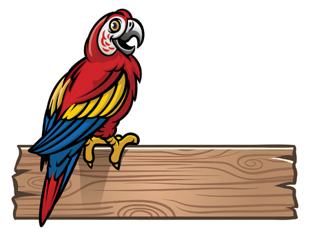 happy macaw bird stand on the blank wood plank Illustration