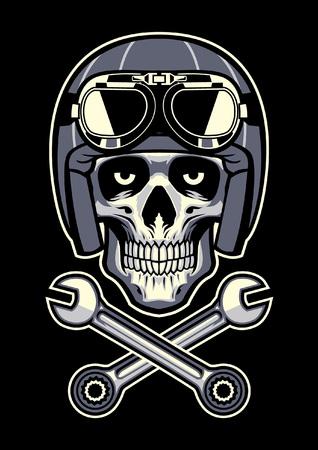 biker skull with helmet and crossing wrench Illusztráció