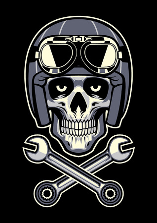 biker skull with helmet and crossing wrench Illustration