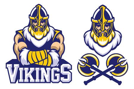 set of viking warrior mascot