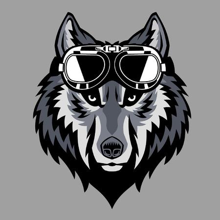mascota de cabeza de lobo con gafas vintage