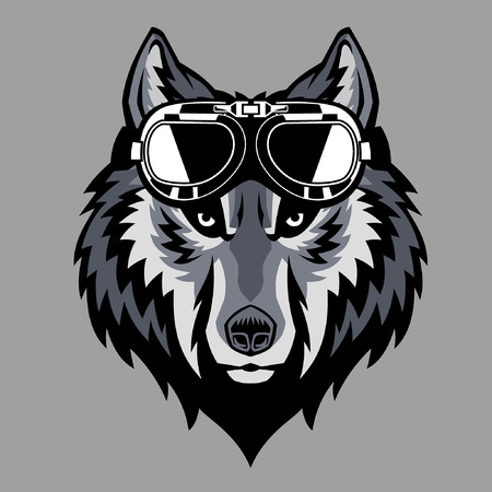 wolf head mascot with vintage goggle glasses