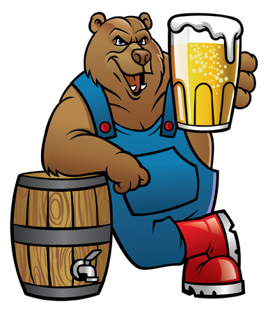bear cartoon lean on the barrel and showing the beer