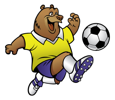 happy bear playing soccer Illustration