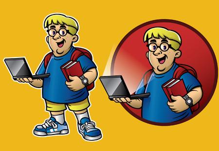 nerd boy mascot set