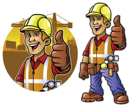 construction worker mascot set Vetores