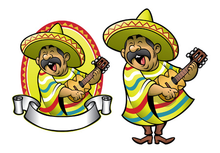 cartoon mexican singing and playing guitar