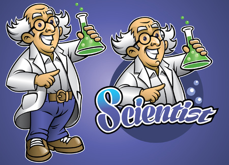 cartoon scientist mascot set