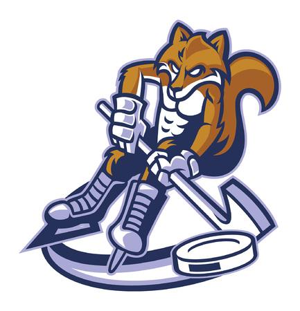 fox mascot playing ice hockey