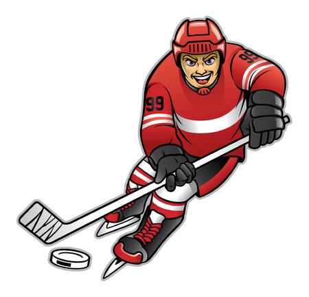 joueur de hockey dribble la rondelle de hockey