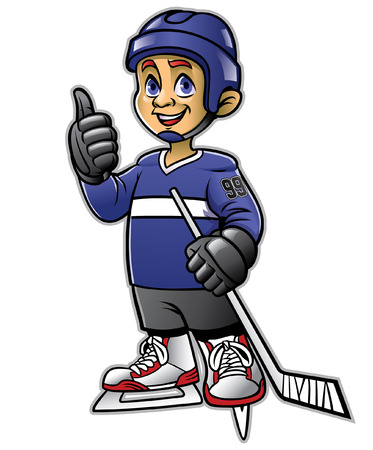 cartoon hockey ice player posing