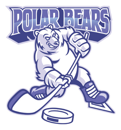 polar bear ice hockey mascot Standard-Bild - 121552218