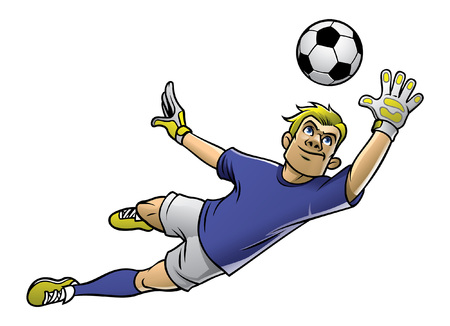 cartoon goalkeeper flying to catch the ball