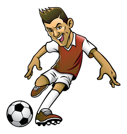 cartoon soccer player kicking the ball