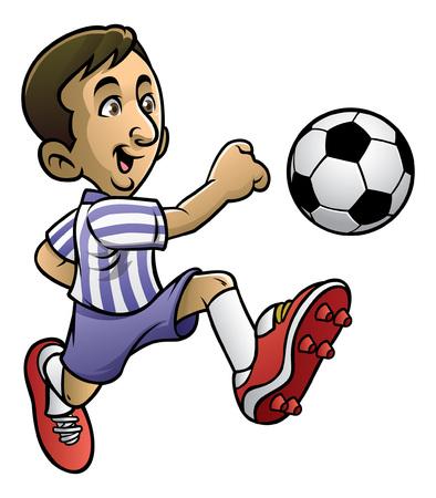 soccer player enjoying dribbling the ball Stock Illustratie