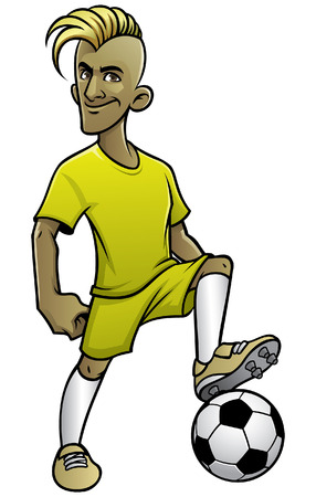 cartoon of soccer player posing with the ball