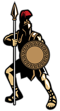 Spartan warrior mascot with spear and shield Ilustração