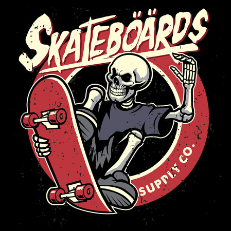 Skateboard-Thema-Design mit dem Schädel, der das Skateboard reitet