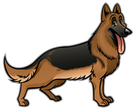 cartoon of german shepherd dog