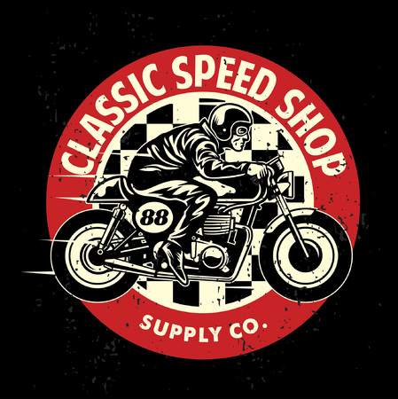 motorcycle theme design with man riding the caferacer