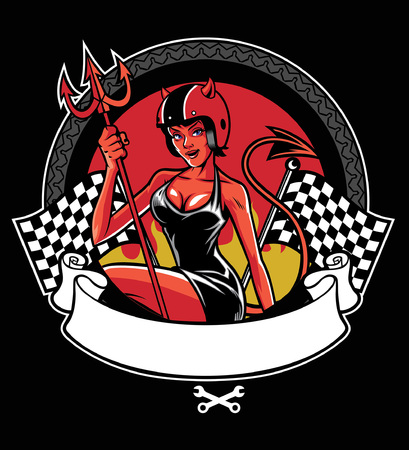 devil women of bikers with blank ribbon and checkered flag