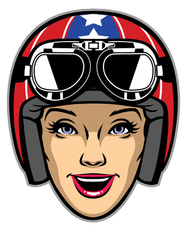 women head wearing vintage motorcycle helmet
