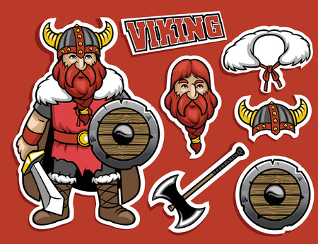 vector cartoon character of viking warrior in set Stock Illustratie