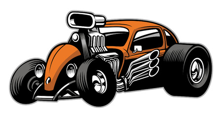 hot rod car with huge supercharger enginge 向量圖像