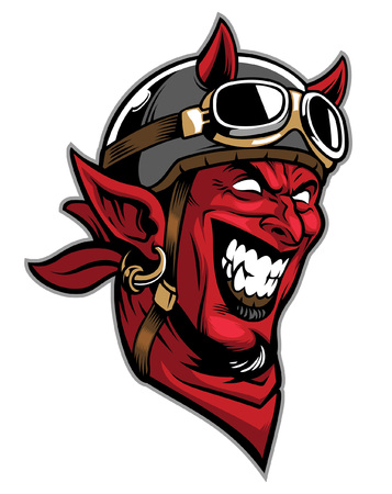 angry head of devil wearing bikers helmet