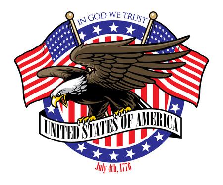 pygargue à tête blanche avec des drapeaux des États-Unis sur l'arrière-plan
