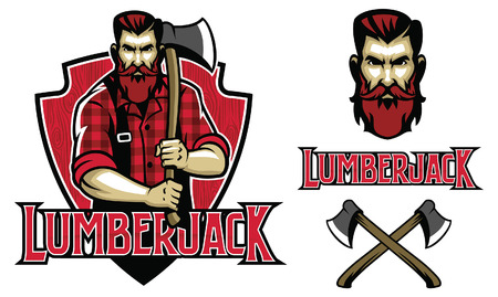 set of lumberjack mascot