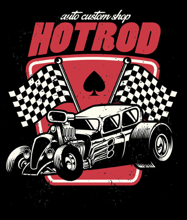 t-shirt design of hot rod car in vintage style