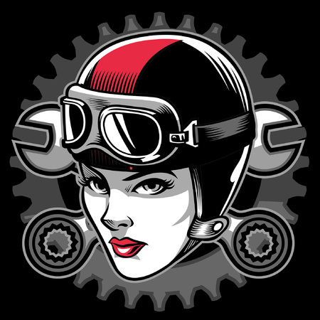 girl biker mascot Illustration