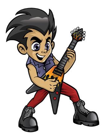 bambino che suona la chitarra metal