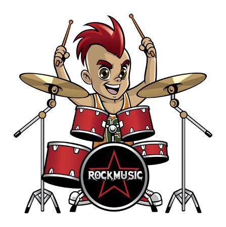Cartoon über Kinder, die Schlagzeug spielen