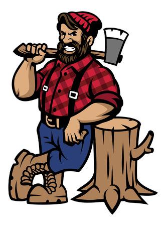 mascota de leñador de dibujos animados apoyarse en el tronco de madera