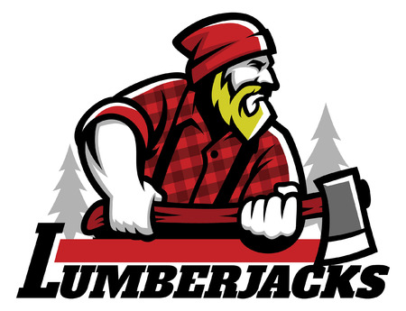 lumberjack mascot hold the axe