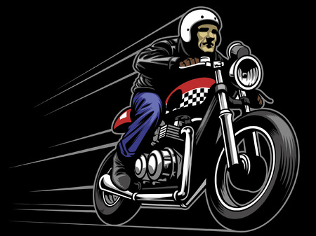 caferacer rider mascot Illustration