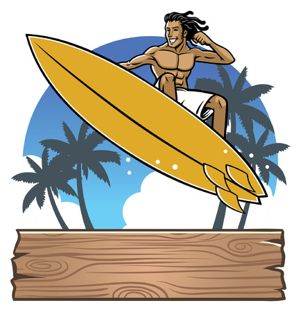 surfer mascot in action Ilustração