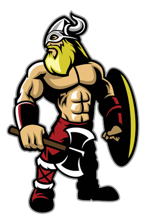 muscular mascot of viking warrior Иллюстрация