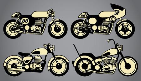 set of vintage motorcycle