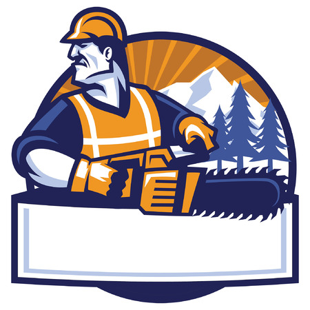 logging worker mascot hold the chainsaw